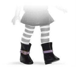 Сапоги черные с сиреневым ремешком для кукол 32 см, Паола Рейна - фото 5965
