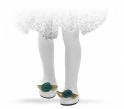 Туфли белые, с зеленым цветком, для кукол 32 см, Паола Рейна - фото 6751