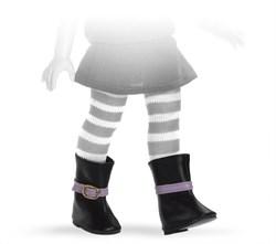 Сапоги черные с фиолетовой пряжкой, для кукол 32 см, Паола Рейна - фото 7278