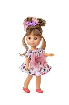 Кукла Люси, шатенка в платье с бантом, 22 см, Berjuan - фото 7484