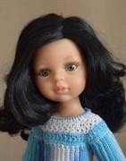 Кукла Карина б/о, 32 см (черные волнистые волосы, без челки, боковой пробор, глаза серые), Паола Рейна