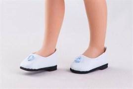 Туфли белые, с голубым цветком, для кукол 32 см, Паола Рейна