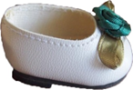 Туфли белые, с зеленым цветком, для кукол 32 см, Паола Рейна
