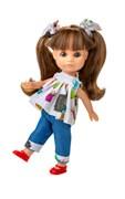 Кукла Люси, шатенка с хвостиками, в тунике с капри, 22 см, Berjuan