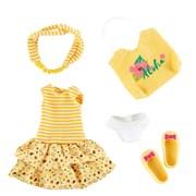 Одежда и обувь для куклы Джой Kruselings в летнем желтом наряде, 23 см